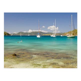 Snorkelers in idyllic Pirates Bight cove, Bight, Postcard