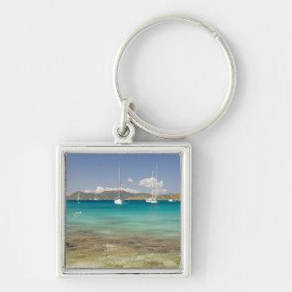 Snorkelers in idyllic Pirates Bight cove, Bight, Silver-Colored Square Keychain