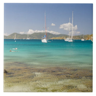 Snorkelers in idyllic Pirates Bight cove, Bight, Ceramic Tiles