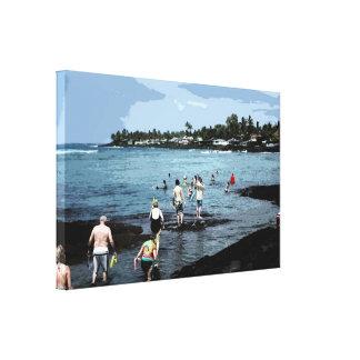 Snorkelers Walking into the Ocean Canvas Print