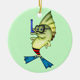 Snorkeling Fish Double-Sided Ceramic Round Christmas Ornament