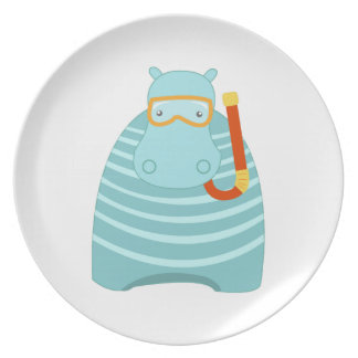 Snorkeling Hippo Dinner Plates