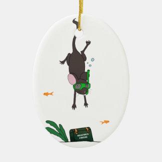 Snorkeling Mouse Ceramic Ornament