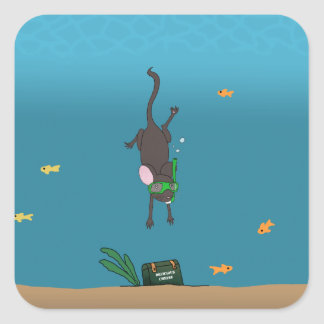 Snorkeling Mouse Square Sticker