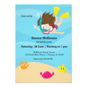 Beach Themed Snorkeling party card