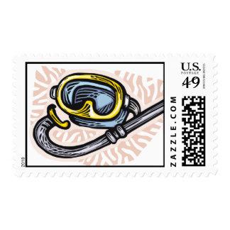 snorkeling sports postage stamp