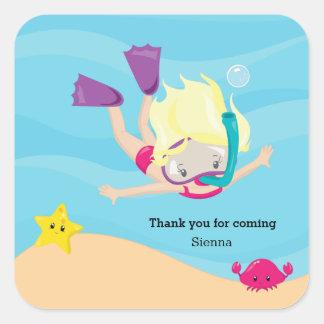 Snorkeling Square Sticker