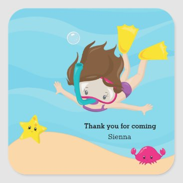 Beach Themed Snorkeling Square Sticker
