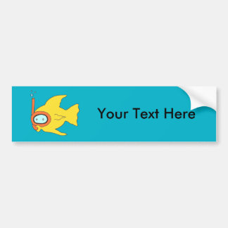 Snorkeling Swimming Yellow Fish Bumper Sticker