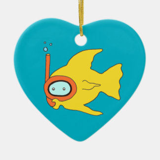 Snorkeling Swimming Yellow Fish Double-Sided Heart Ceramic Christmas Ornament
