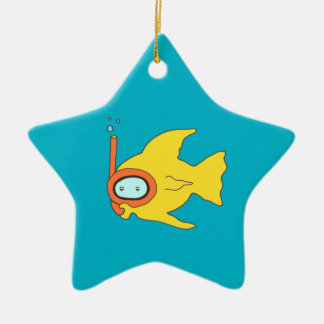 Snorkeling Swimming Yellow Fish Double-Sided Star Ceramic Christmas Ornament