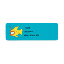 Snorkeling Swimming Yellow Fish Return Address Label