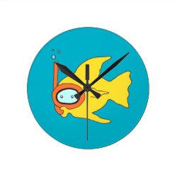 Snorkeling Swimming Yellow Fish Round Wallclocks