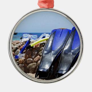 snorkeling tools round metal christmas ornament