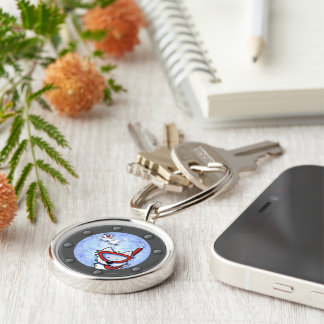Snorkeling Westies Porthole Silver-Colored Round Keychain