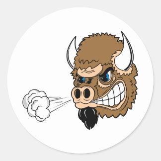 Snorting Bull Classic Round Sticker