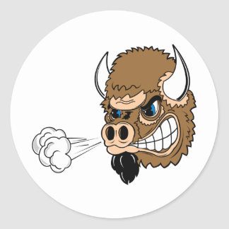 Snorting Bull Round Stickers