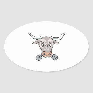 Snorting Bull Oval Stickers