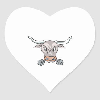 Snorting Bull Heart Sticker