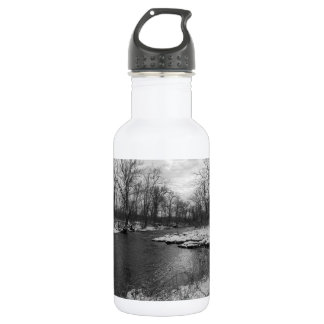 Snow Along James River Grayscale Water Bottle