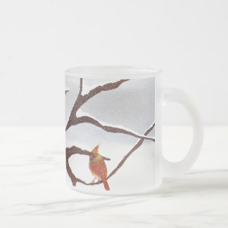 Snow and cardinal birds frosted glass coffee mug