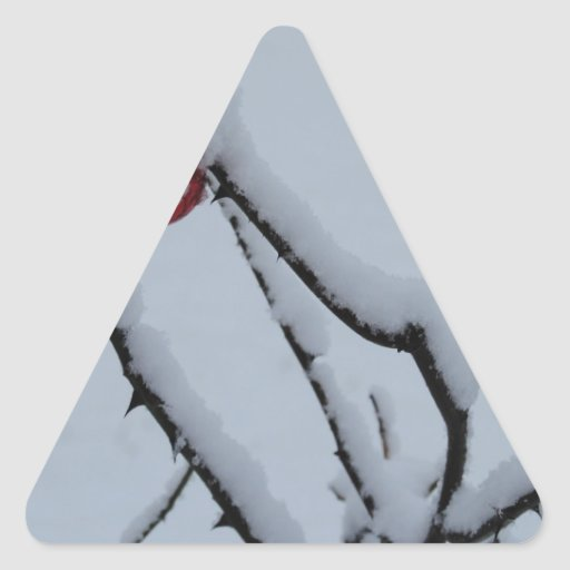 Snow and Christmas Ornaments Triangle Sticker