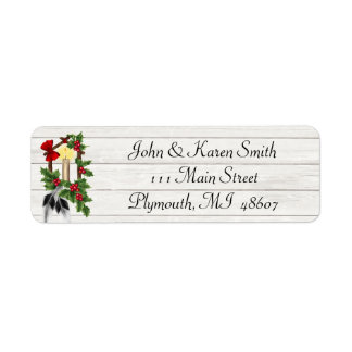 Snow and Christmas Tree Address Label