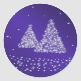 Snow and Christmas Trees Blue Background Sticker