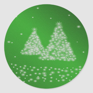 Snow and Christmas Trees Green Background Sticker