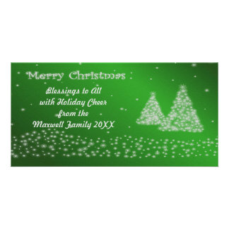 Snow and Christmas Trees Green Photo Card