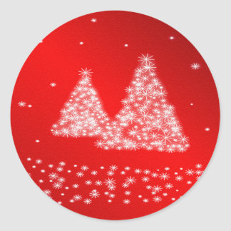 Snow and Christmas Trees Red Background Sticker