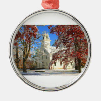 Snow and Foliage on Town Common Metal Ornament