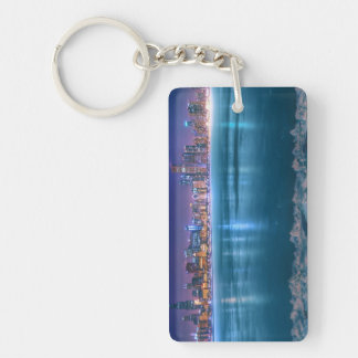 Snow and ice abound on Lake Michiga at Arctic Rectangular Acrylic Key Chain