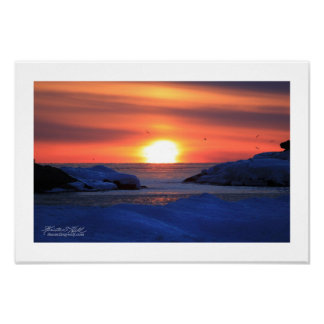 Snow and Ice on Lake Superior Poster