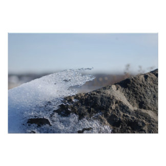 Snow and Ice Receeding from a Rock Face Poster