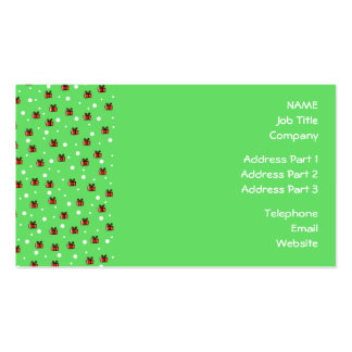 Snow and Parcels Pattern on Green Business Card Template