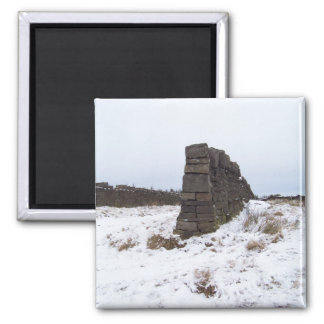 Snow and wall scene fridge magnet