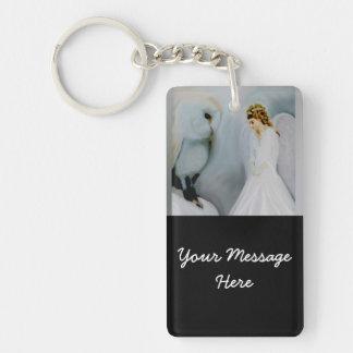 Snow Angel and White Owl Rectangular Acrylic Key Chain