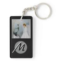 Snow Angel and White Owl Rectangular Acrylic Keychain