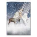 Snow Angel Blowing Snow Over The World, With Reind Greeting Card