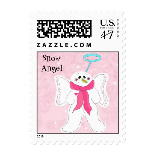Snow Angel in Pink Postage Stamp