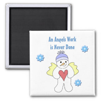 Snow Angel 2 Inch Square Magnet