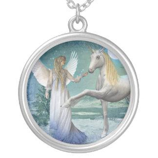 Snow Angel (Necklace/Pendant) Round Pendant Necklace