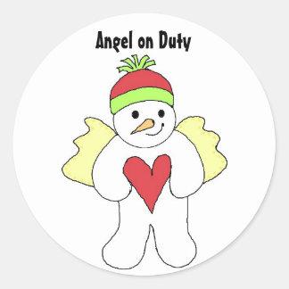 Snow Angel on Duty Classic Round Sticker