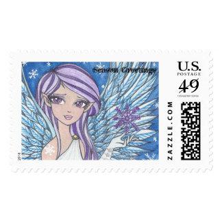 snow angel season greetings stamps