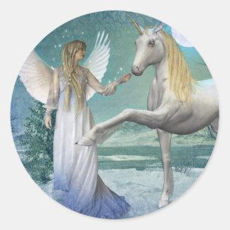 Snow Angel (Stickers) Classic Round Sticker