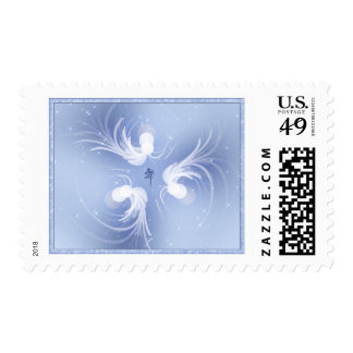 Snow Angels Abstract Art Postage