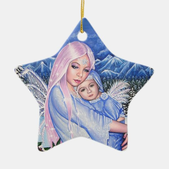 Snow Angels Ceramic Ornament