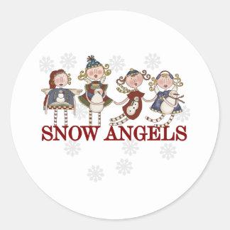 Snow Angels Classic Round Sticker