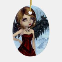 artsprojekt, art, fantasy, snow angel, snow angels, snow fairy, gothic angel, christmas angel, christmas fairy, christmas, snow, snowy, snowflake, snowflakes, winter, winter fairy, xmas, holiday, eye, eyes, big eye, big eyed, jasmine, becket-griffith, becket, griffith, jasmine becket-griffith, jasmin, strangeling, artist, goth, gothic, fairy, gothic fairy, faery, fairies, faerie, fairie, lowbrow, Ornamento com design gráfico personalizado